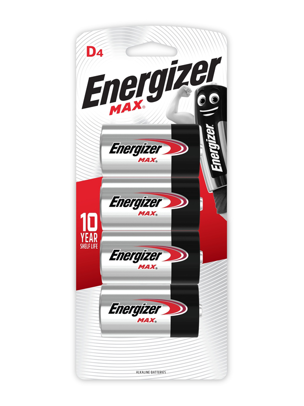 Energizer Max: D - 4 Pack
