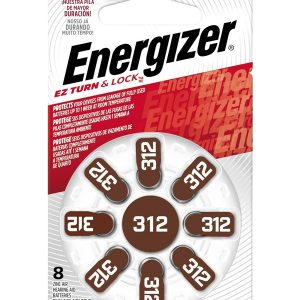Energizer Hearing Aid Zinc Air TFT Battery: 312 8 pack