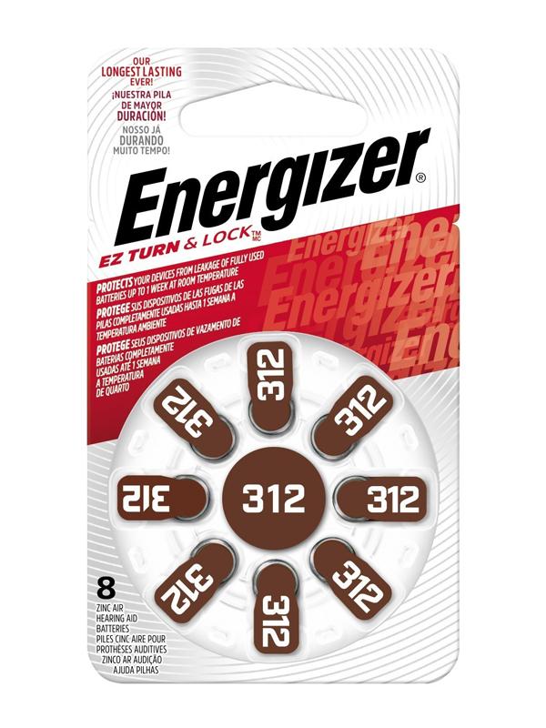 Energizer Hearing Aid Zinc Air TFT Battery: 312 8 pack
