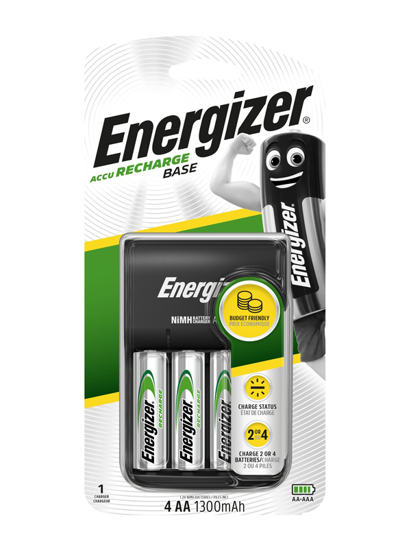 Energizer Charger :Base Charger (with 4 x 1300mAh AA)